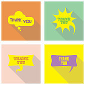 Thank you, appreciation and gratitude speech bubble set. Set of blank comic bubbles vector design elements. Isolated and colorful with shadows and sample text. Icons vector set for apps, web or business.