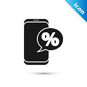 Black Percent symbol discount and mobile phone icon isolated on white background. Sale percentage - price label, tag.  Vector Illustration