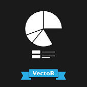 White Pie chart infographic icon isolated on black background. Diagram chart sign.  Vector Illustration
