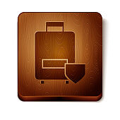 Brown Travel suitcase icon isolated on white background. Traveling baggage insurance. Security, safety, protection, protect concept. Wooden square button. Vector Illustration