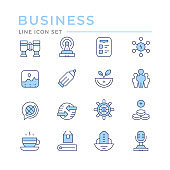 Set color line icons of business