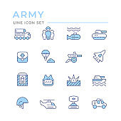 Set color line icons of army
