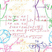 Mathematical seamless texture in colour with handwritten math, algebra and geometry formulas and graphs, functions, calculations and operations. Color vector.
