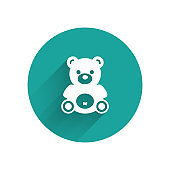 White Teddy bear plush toy icon isolated with long shadow. Green circle button. Vector Illustration