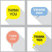 """Set of Speech bubbles. Vintage word bubbles, comic shapes. Flat design with shadow with """"Thank you"""" phrase.  Thinking and speaking clouds concept. Vector"""
