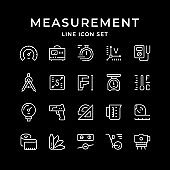 Set line icons of measurement