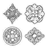 Set of Baroque ancient vintage style floral circular and rhombus or square design elements. Marble rosettes drawing for fashionable pattern in black white for textile, scarves, backgrounds. Vector.