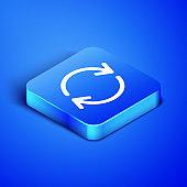 Blue square button icon