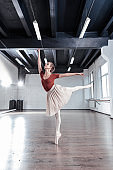 Attractive slim ballet dancer showing graceful movements