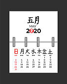May 2020 spiral calendar page. Week start on Sunday. Month and day hand drawn japanese hierogliph. Chinese calligraphy. Japan or China business planner template. Vector mock up illustration