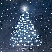 Abstract bokeh background with Christmas tree lights. Vector