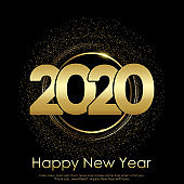 Happy New Year of Christmas card with gold shiny text. 2020 Vector