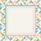 Square frame in retro colors, abstract geometric background pattern