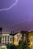 Thunderstorm in the night: Lightning on the sky, urban city, Austria