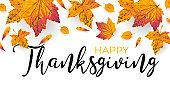 Golden autumn leaves border. Happy Thanksgiving banner, poster, sale flyer. Fall maple orange and yellow leaf element on white background. Thanks giving frame design. Vector illustration
