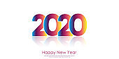 Happy 2020 Year card with colorful text on white. Vector.