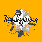 Autumn Thanksgiving sale template with white square, gold, silver, black maple leaf background. Fall season leaves. Design template poster, banner, shopping flyer frame. Promotion Vector illustration