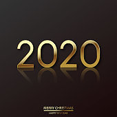 2020 New Year. Elegant luxury golden text lettering numbers. Vector