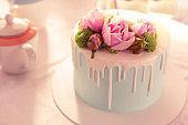 Close up of amazing delicious colorful wedding cake