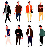 Cartoon male characters. Men in fashion clothes. Vector.