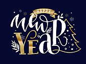 Happy New Year - hand drawn lettering postcard invitation.