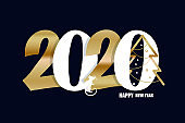 Happy new year 2020 with cute rat - beautiful hand drawn lettering postcard