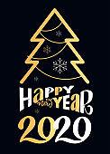 Happy new 2020 Year - beautiful hand drawn lettering invitation postcard