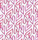 Cute hand drawn doodle pattern background with heart