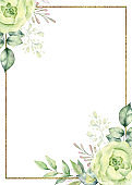 Watercolor floral frame.