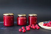 Fresh homemade raspnerry jam and fruits