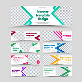 Large set of vector white horizontal web banners with arrows, triangles and place for photo.