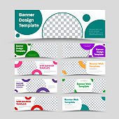 Big set of vector horizontal white web banners with circular multi-colored design elements and a place for a photo.