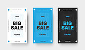 Set of vector banner for big sale, special offers, white, blue and black template with circle and text.