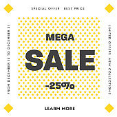 Set of vector square web banners for big sale with round yellow and white elements.