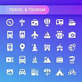 Travel & Tourism Vector Icon Set.