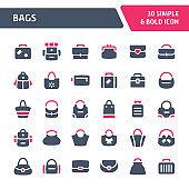 Bags Vector Icon Set.