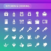 Kitchen & Cooking Vector Icon Set.