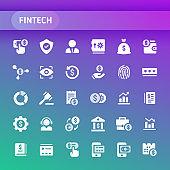 Fintech Vector Icon Set.