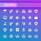 Insurance Vector Icon Set.