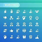 Work Ethics Vector Icon Set.