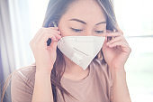 Female wearing N95 Respiratory Protection Mask against air pollution. Healthcare concept