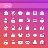 Bags Vector Icon Set.