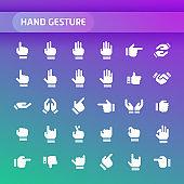 Hand Gesture Vector Icon Set.