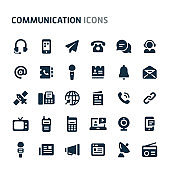 Communication Vector Icon Set. Fillio Black Icon Series.