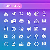 Contact Us Vector Icon Set.