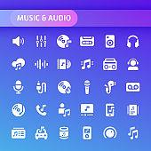 Music & Audio Vector Icon Set.