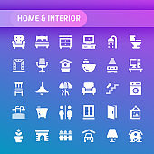 Home & Interior Vector Icon Set.