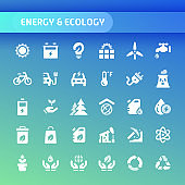 Energy & Ecology Vector Icon Set.