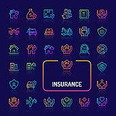 Business & Personal Insurance Gradient Line Icon Set (EPS 10)