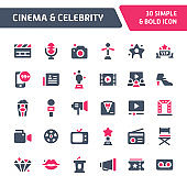 Cinema & Celebrity Vector Icon Set.